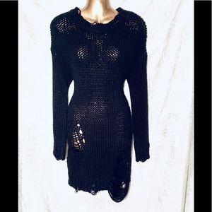 Black Crochet Sweater Dress
